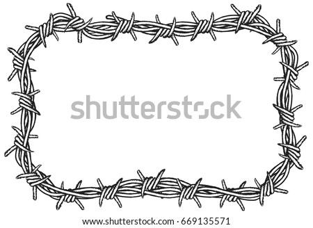 Rectangular Border Barbed Wire Clipart Illustration Stock Vector ...