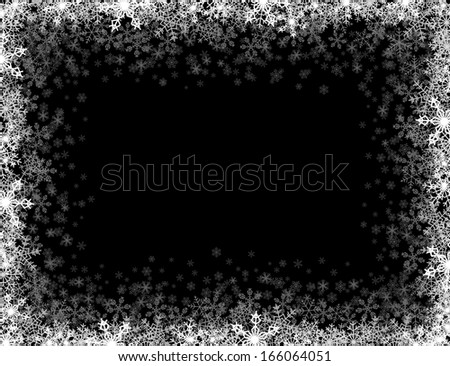 Rectangular frame with small snowflakes layered around - stock vector