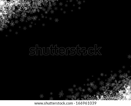 Rectangular frame with snowflakes in the corners - stock vector