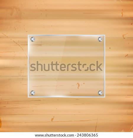 Rectangular glass frame on wooden background/vector illustration - stock vector