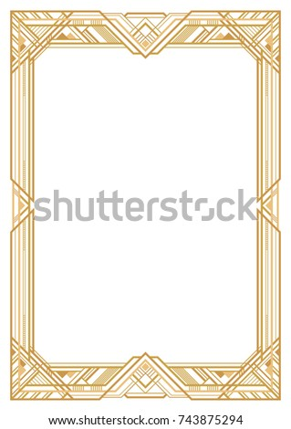 Rectangular Golden Retro Frame Art Deco Style Of 1920s Transparent Background A3 Page