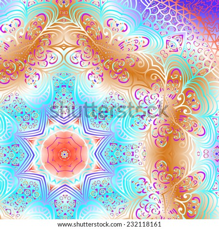 Rectangular multicolored ornament for design and background