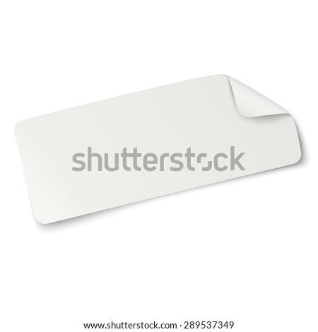 Rectangular oblong paper sticker note isolated on white. Light from upper left. - stock vector