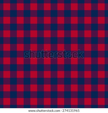 Rectangular seamless vector pattern as a tartan plaid mainly in red and dark hues of blue and violet - stock vector