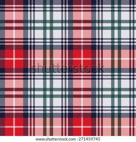 Rectangular seamless vector pattern as a tartan plaid mainly in red and light grey colors - stock vector