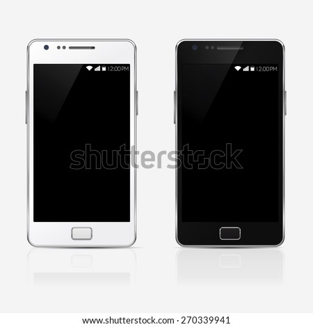 rectangular stylish mobile phone isolated, realistic vector illustration.  - stock vector