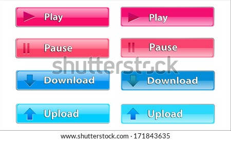 rectangular transparent button to Upload, Pause, download and play
