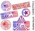 Rectangular, triangular and round Independence Day rubber stamp vectors  - stock photo