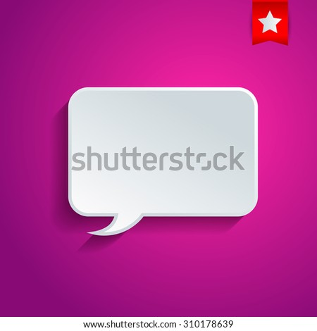 Rectangular vector speech bubble on the lilac background.  - stock vector