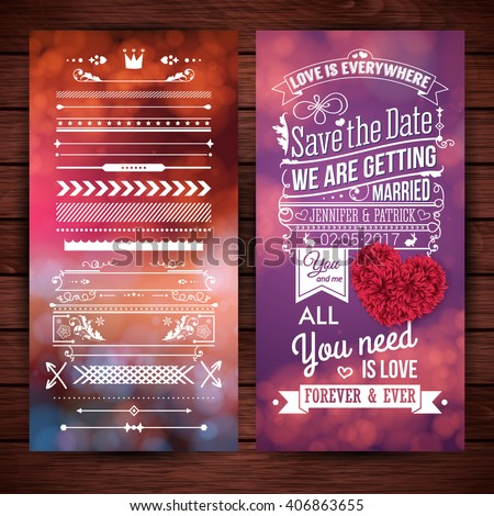 Rectangular we are getting married love theme stationery with extra icons, frames and borders over wooden background - stock vector