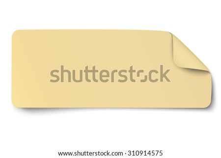 Rectangular yellow oblong paper sticker note - stock vector