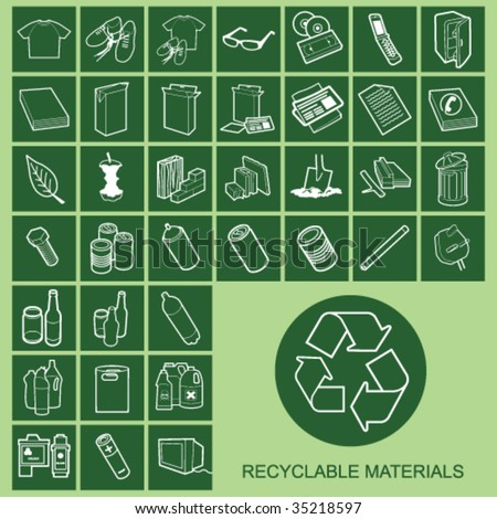 Recyclable Material Icons Individually Layered - stock vector