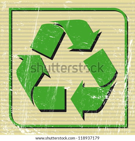 Recyclable sign. A recycling logo on a sticker. - stock vector