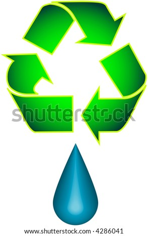 Recycle and Droplet - stock vector