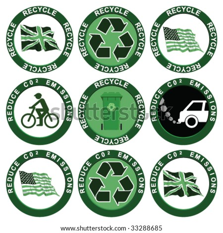 Recycle and Reduce Carbon Emissions Collection - stock vector