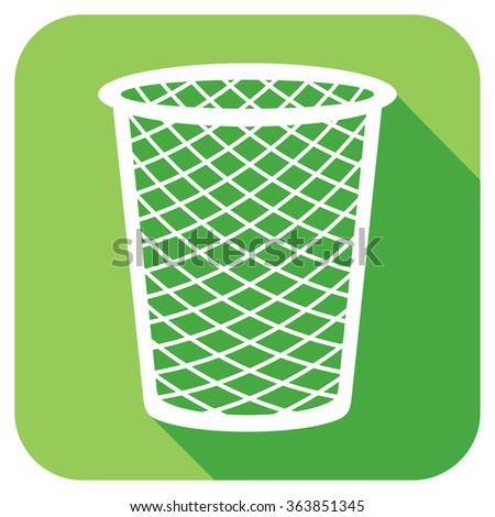 recycle bin flat icon (wastebasket icon) - stock vector