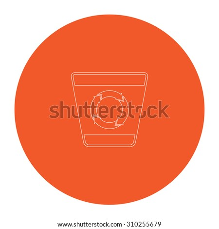 Recycle bin. Flat outline white pictogram in the orange circle. Vector illustration icon - stock vector