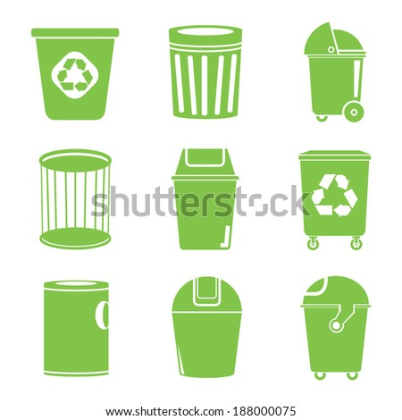 recycle bin icon set, green trash icon