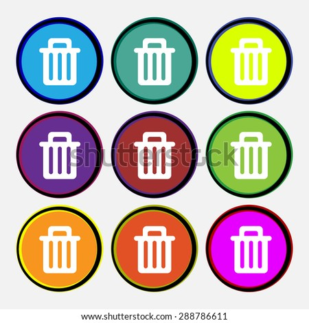 Recycle bin icon sign. Nine multi colored round buttons. Vector illustration - stock vector