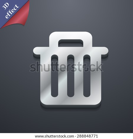 Recycle bin icon symbol. 3D style. Trendy, modern design with space for your text Vector illustration - stock vector