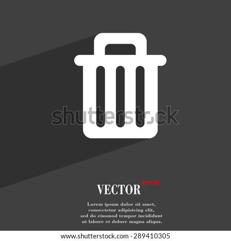 Recycle bin icon symbol Flat modern web design with long shadow and space for your text. Vector illustration - stock vector
