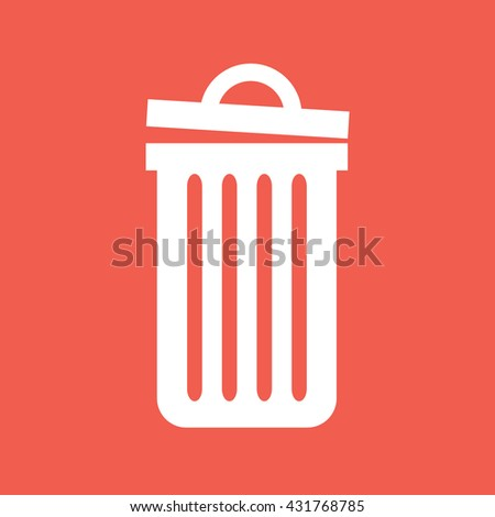Recycle bin icon vector. White trash can