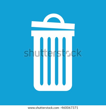 Recycle bin icon vector. White trash can. Blue background