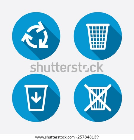 Recycle bin icons. Reuse or reduce symbols. Trash can and recycling signs. Circle concept web buttons. Vector - stock vector