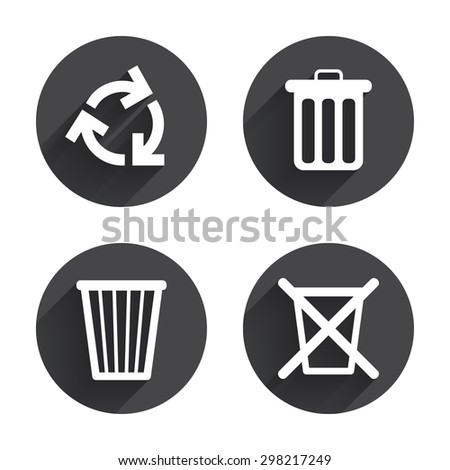 Recycle bin icons. Reuse or reduce symbols. Trash can and recycling signs. Circles buttons with long flat shadow. Vector - stock vector