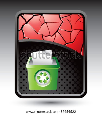 recycle bin on red cracked background - stock vector