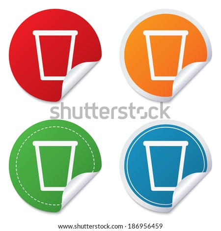 Recycle bin sign icon. Bin symbol. Round stickers. Circle labels with shadows. Curved corner. Vector