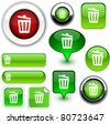 Recycle bin vector glossy icons. - stock vector