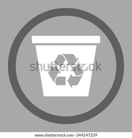 Recycle Bin vector icon. Style is bicolor flat rounded symbol, dark gray and white colors, rounded angles, silver background.