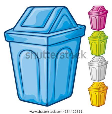 recycle bin (waste recycle can, waste bin, recycle trash can, waste can, trash can) - stock vector