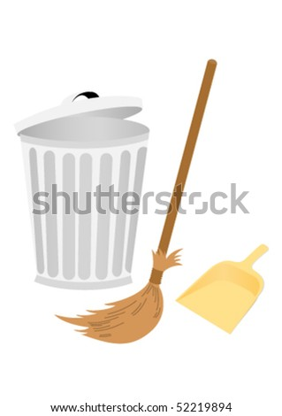 Recycle bin with dustpan and broom - stock vector
