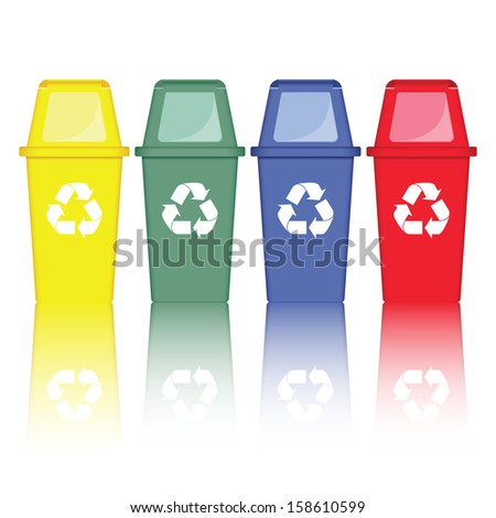 Recycle bins on isolated white background