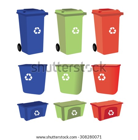recycle bins on white background - stock vector