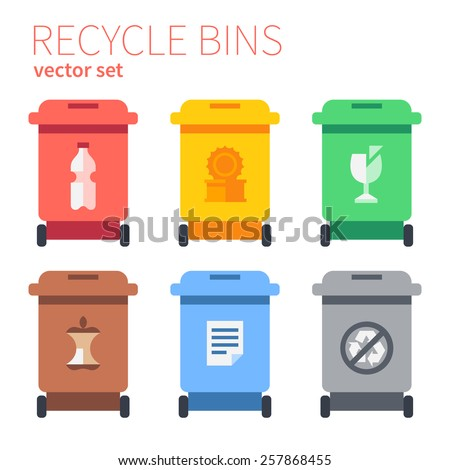 Recycle bins plastic, metal, glass, kitchen waste, paper, waste rest. Flat vector illustration. - stock vector
