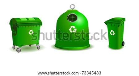 Recycle bins - two bigger and a small one - stock vector