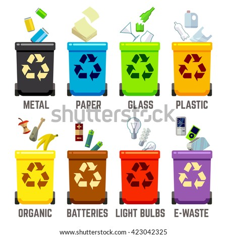 Recycle bins with different waste types. Waste management concept. Color containers for waste. Vector illustration - stock vector