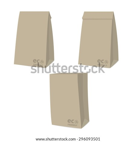 recycle brown bag is on white background with eco friendly sign 1 - stock vector