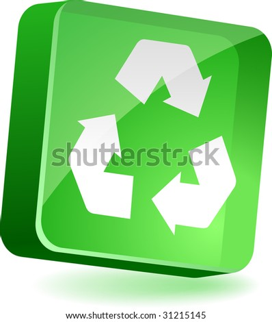 Recycle 3d icon. Vector illustration.
