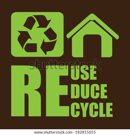 Recycle design over brown background, vector illustration - stock vector