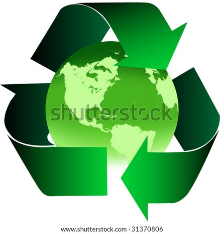 Recycle earth with green recycle arrows - stock vector
