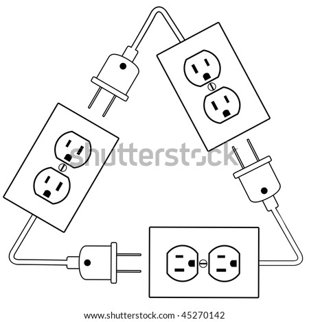 Recycle Electric Energy Symbol Electrical Outlets Stock Vector (2018 ...