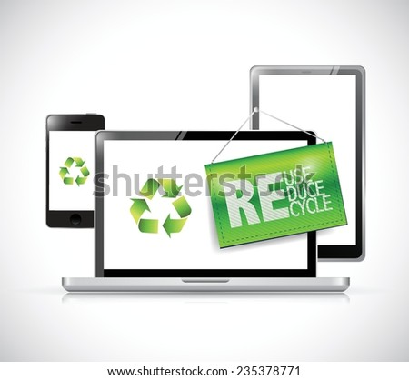 recycle electronic concept illustration design over a white background - stock vector