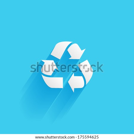 recycle, flat icon isolated on a blue background for your design, vector illustration - stock vector