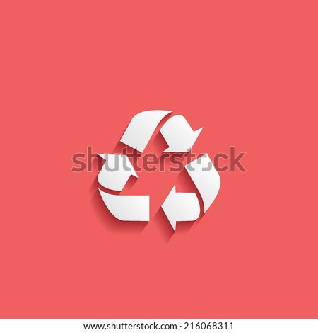 recycle, flat icon isolated on a red background for your design, vector illustration - stock vector