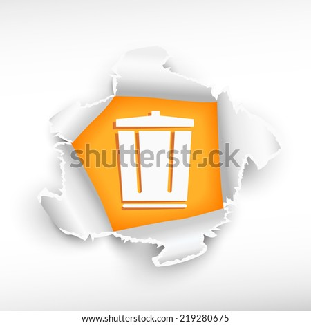 Recycle garbage can and breakthrough paper hole with ragged edges with a space for your message. - stock vector