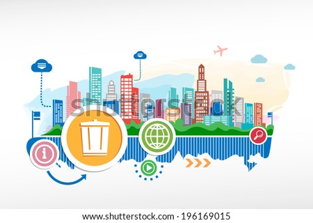 Recycle garbage can and cityscape background with different icon and elements. Design for the print, advertising. - stock vector